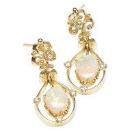 Opal and Diamond Dangle Earrings, C. 1975