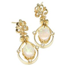 Opal and Diamond Dangle Earrings, C. 1975