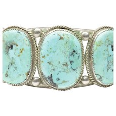Native American Open Cuff Bracelet with Five Turquoises