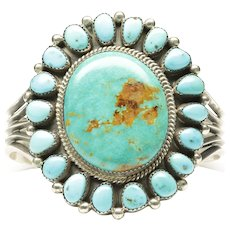 Native American Large Open Cuff Turquoise Bracelet, by Mike Platero