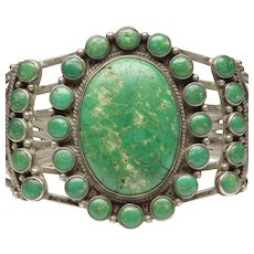 Native American Open Cuff Bracelet with Old Cerrillos Turquoises