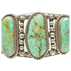 Native American Open Cuff Bracelet with Three Turquoises