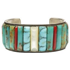 Native American Wide Open Cuff Bracelet with Corn Row Inlay
