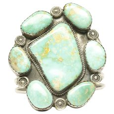 Native American Large Open Cuff Bracelet with Seven Turquoises