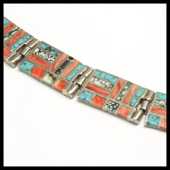 Native American Inlay Link Bracelet