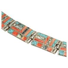 Native American Inlay Link Bracelet
