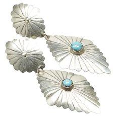 Native American Dangle Earrings with Turquoises