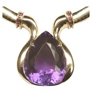 Large Pear-Shaped Amethyst Necklace with Small Ruby Accents
