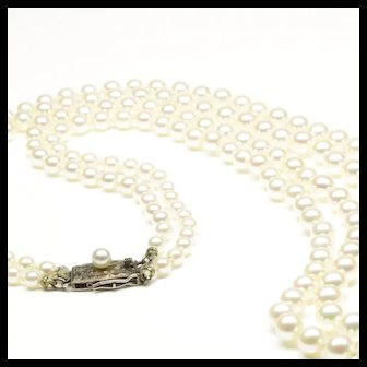 Mikimoto Two-Strand Cultured Pearl Necklace with Silver Clasp