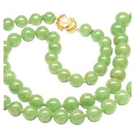 "Jadeite Jade Necklace 24"" with 14K Clasp"