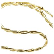 Italian 14-Karat Yellow Gold Braided Flat Snake Chain Necklace, C. 1980