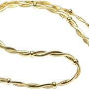 Italian 14-Karat Yellow Gold Braided Flat Snake Chain Necklace, C. 1980
