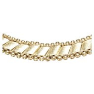 14-Karat Yellow Gold Florentine Finish Necklace by Felger, c. 1950s