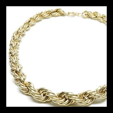 14-Karat Yellow Gold Graduated Rope Chain Necklace, c. 1965