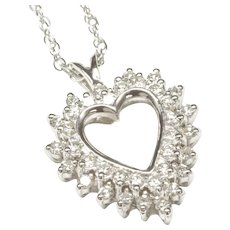 10-Karat White Gold Diamond Heart Pendant