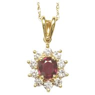 18-Karat Yellow Gold Ruby and Diamond Cluster Pendant, c. 1980