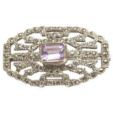 Amethyst Marcasite Sterling Silver Pin c. 1940s
