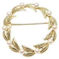 Foliate Motif Cultured Pearl Open Circle Brooch by Tiffany & Co.
