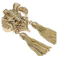 Victorian Brooch Pendant in 14-Karat Gold with Tassels