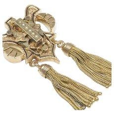 Victorian Brooch Pendant in 14-Karat Gold with Tassels