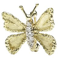 18-Karat Gold Diamond Butterfly Pin, by Honora