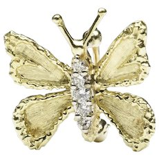18-Karat Gold Diamond Butterfly Pin, by Honora