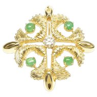 Prominent 1970s Pendant-Brooch with Diamond & Emeralds