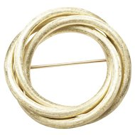 Finely Textured Gold Circle Brooch