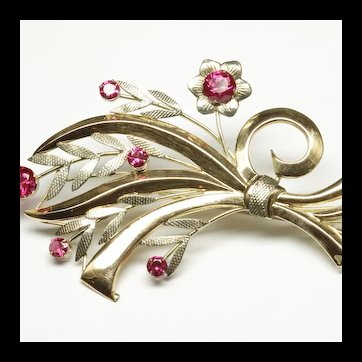 14K Yellow Gold Sterling Silver Retro Flower Bouquet Brooch with Synthetic Rubies