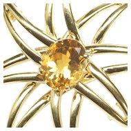 Large Open Sunburst Brooch with Citrine