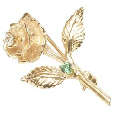 Single Rose Pin in 14-Karat Yellow Gold with Diamond and Green Glass