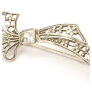 Small Silver Bow Brooch with Rhinestone, c. 1920
