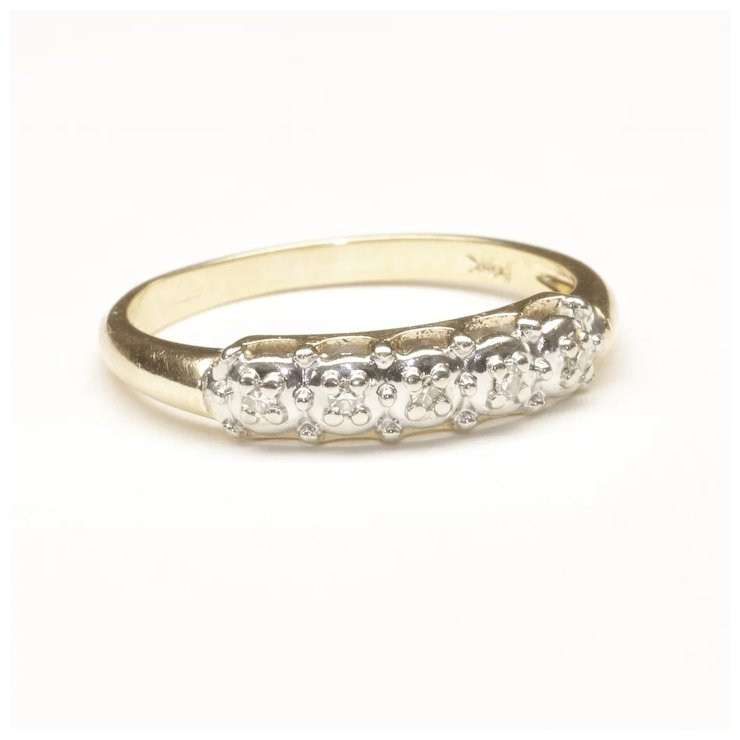 Wedding Ring With Five Small Diamonds C 1965