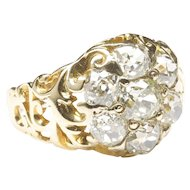 Large Victorian Round Diamond Cluster Ring