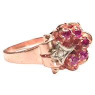 Deep Rose Gold Retro Ring with Rubies and Diamond-Set White Gold Accent