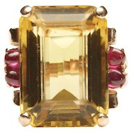 1940s Retro Rose Gold Ring with Citrine and Rubies