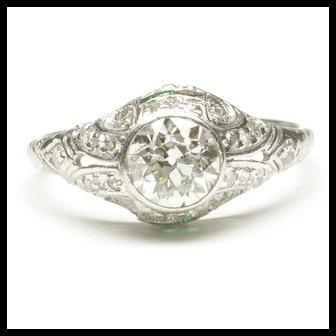 Early Art Deco Platinum Diamond Engagement Ring, C. 1920