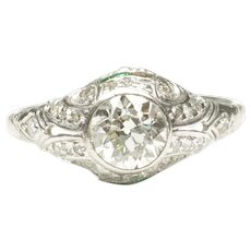 Early Art Deco Platinum Diamond Engagement Ring, C. 1920