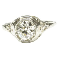 Classic 18-Karat White Gold Diamond Engagement Ring, C. 1920