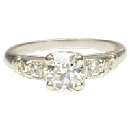 Classic 1940s Diamond Engagement Ring in Platinum