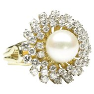 Cultured Pearl and Diamond Dinner Ring by Honora, C. 1980