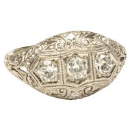 19-Karat White Gold Diamond Wedding Ring, c. 1920s