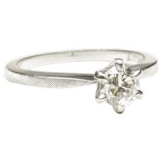 18-Karat White Gold Solitaire Engagement Ring, c. 1955