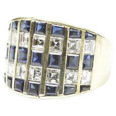 18-Karat Yellow Gold Sapphire Diamond Wide Band Ring