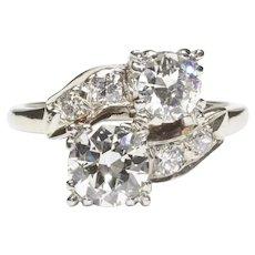 14-Karat White Gold Crossover Diamond Ring, c. 1950s