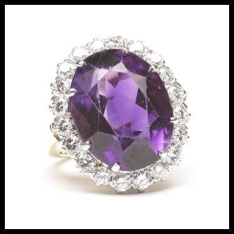 14K Platinum Amethyst Diamond Cluster Ring