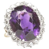 14K Platinum Amethyst Diamond Cluster Ring