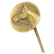 Small 14-Karat Yellow Gold Antique Horse Head Stick Pin, Signed Krementz