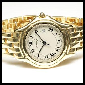 18K Yellow Gold Cartier Panthere Cougar Quartz Wrist Watch