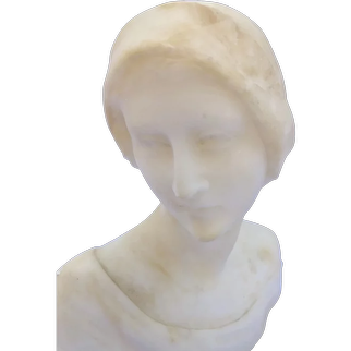 Art Deco Marble or Alabaster bust of a woman with a cloche hat